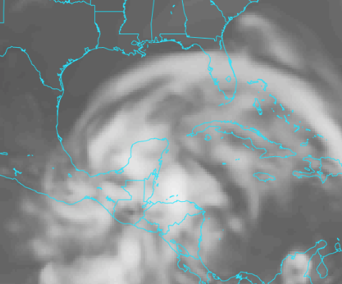 Simulated satellite view of the system in the southern Gulf on Wed.