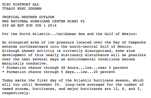 1st tropical outlook from the NHC is mentioning the possibility of development within 5 days.
