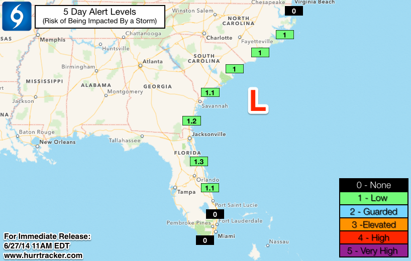 Threat levels are currently low along the SE US coast.