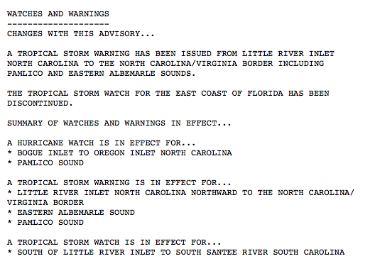 Summary from the NHC of all watches/warnings.