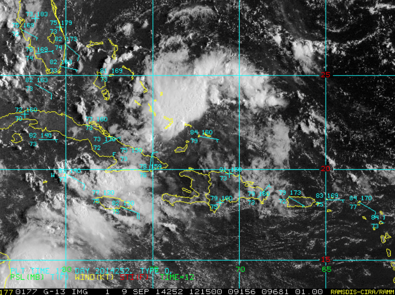 Area of disturbed weather in the SE Bahamas.