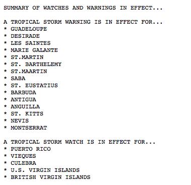 Summary of TS Watches & Warnings.