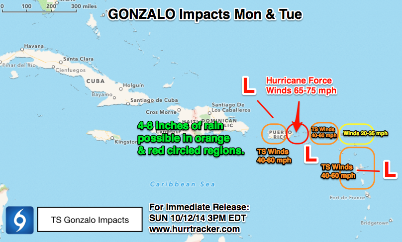 Likely impacts from Gonzalo Monday & Tuesday.