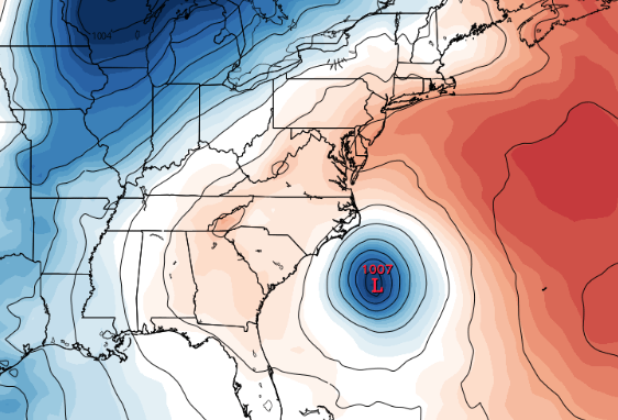 EURO 12Z run from 4/30/15 showing a developing system next week off the SE US coastline.