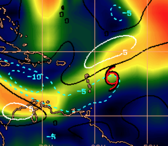This image shows the wind shear around Danny has been decreasing.
