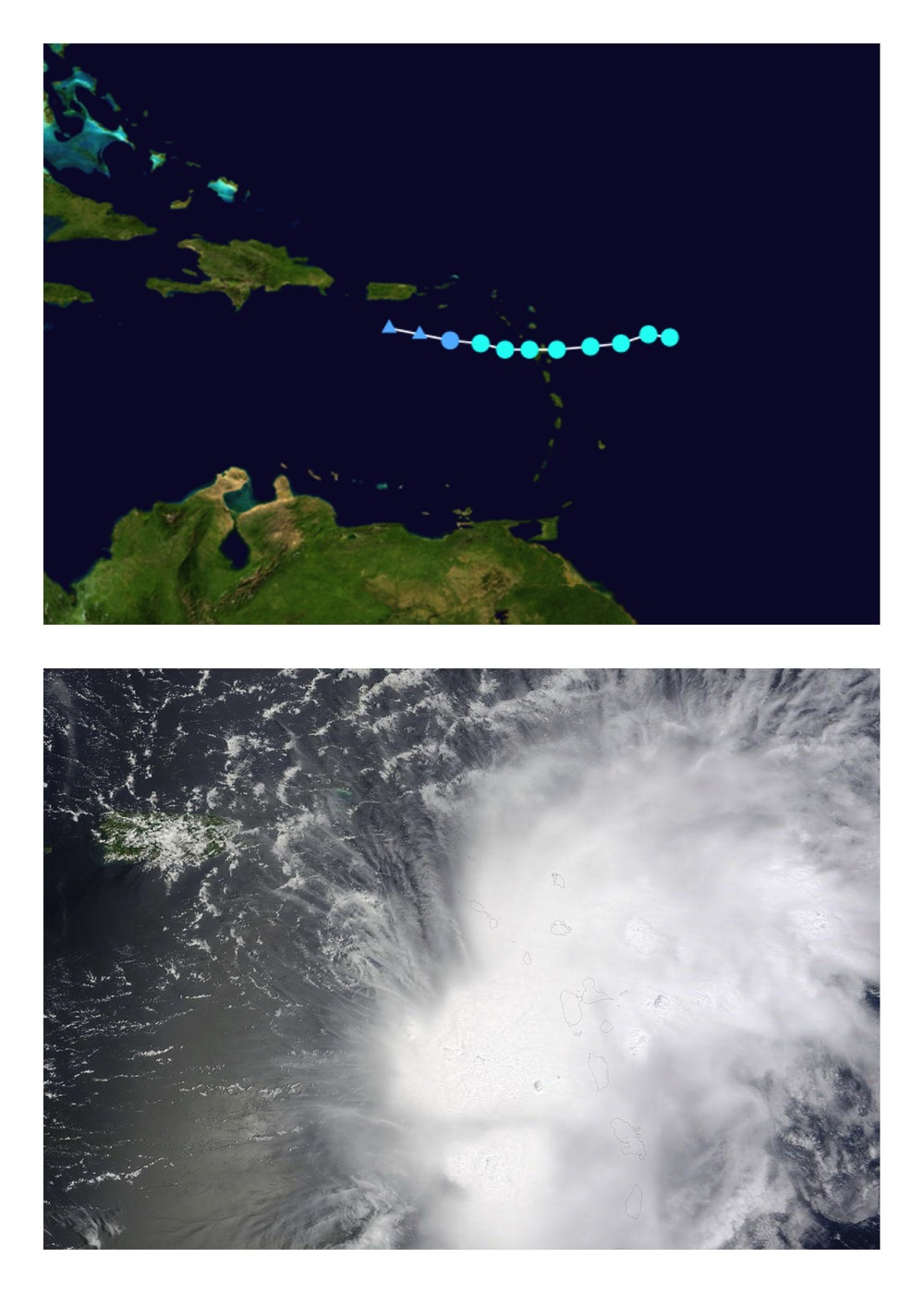 Erika back in 2009 dissipated in the same where 2015's Erika is located.