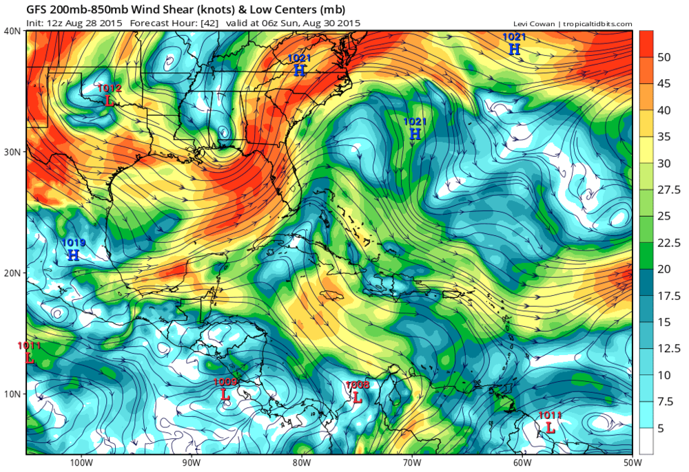 Forecasted wind shear across the E Gulf next week is very high.