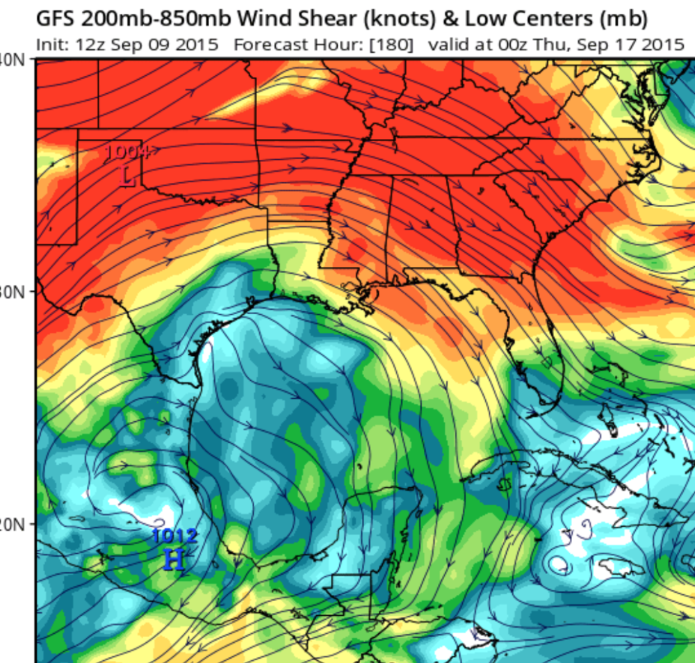 The GFS does forecast an area of low shear underneath an upper level high pressure area over the western Gulf next week.