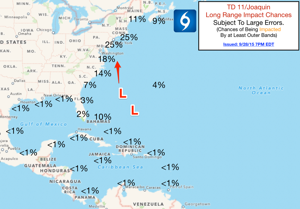 Long Range Impact Chances from The Hurricane Tracker App.