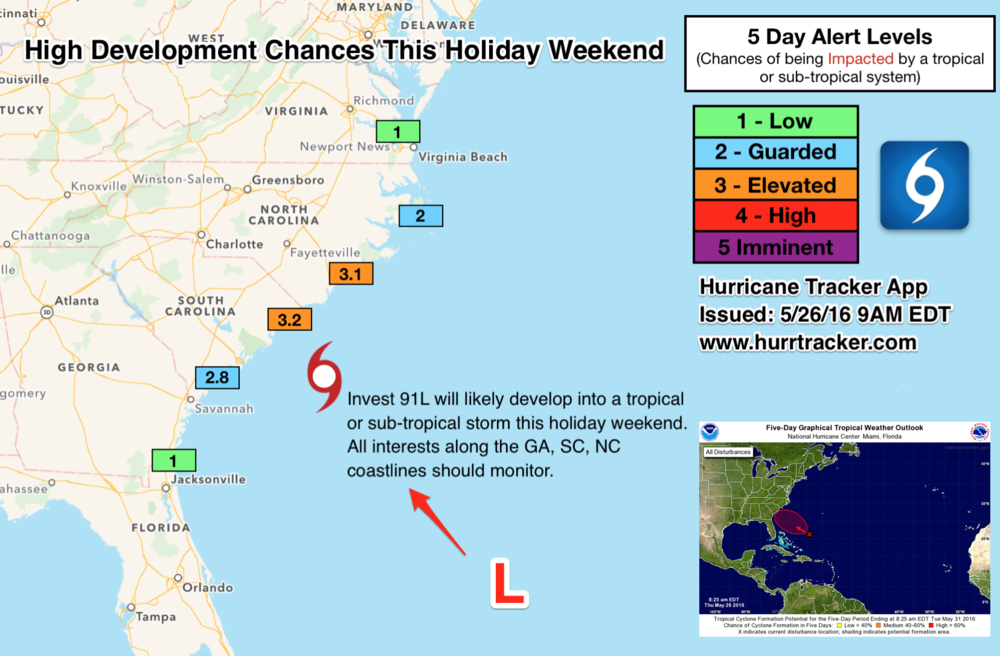 Our unique 5 day alert levels map. If you are a resident or have interests this weekend from GA to NC, please check back often for the latest updates.