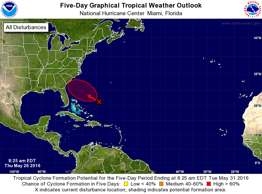 The NHC now gives Invest 91L a 70% chance (high) of development through the next 5 days. 30% (medium) through 48 hours.