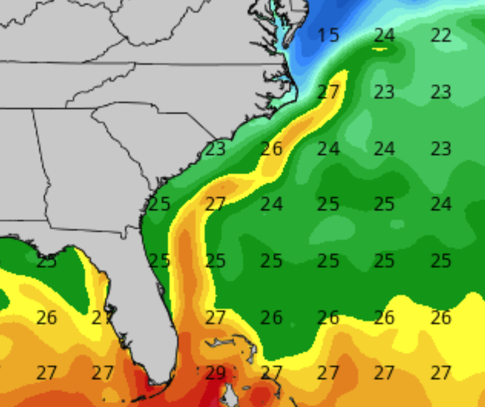 "You can easily see the warm Gulf Stream ""river"" just offshore."