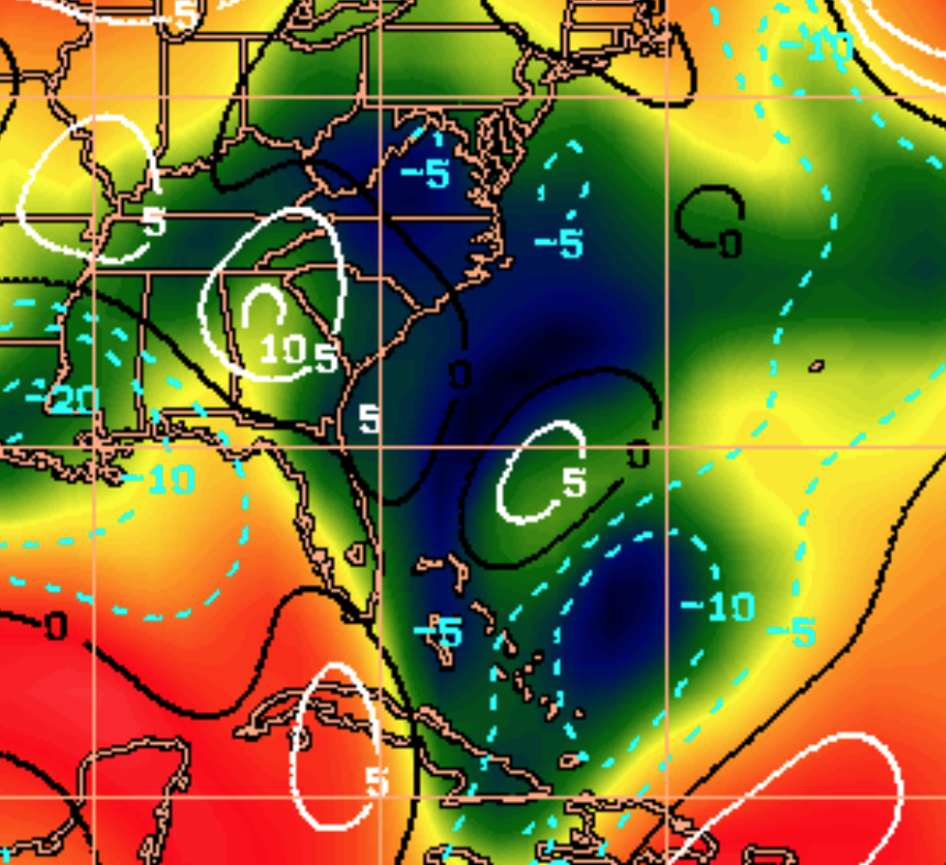 Wind shear closer to the coast is low. The black and blue areas is where little to no wind shear is present.