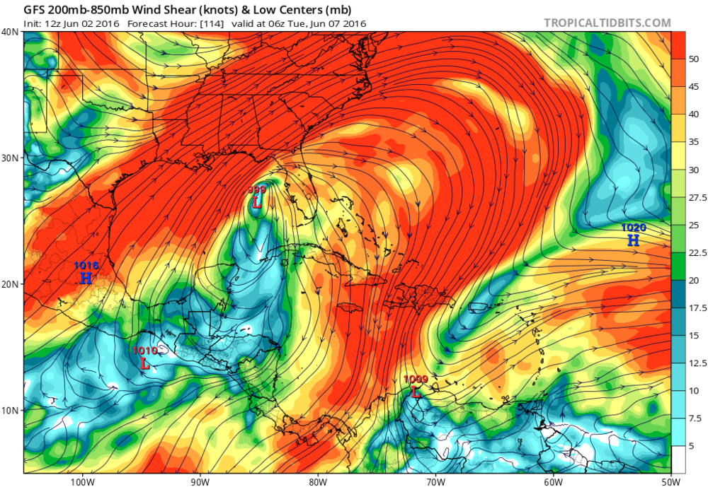 Forecasted wind shear from today's GFS run. Wind shear of 40-50 knots could affect the western side of the system.