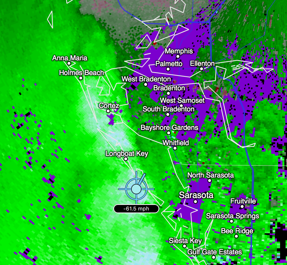 Radar picked up a 61.5 mph wind gust offshore of Sarasota, FL as the first strong band rolled through.
