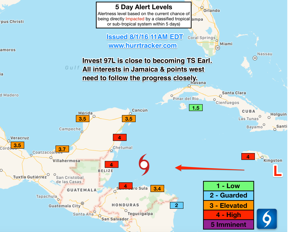 Our team has issued high Alert Levels for portions of the Western Caribbean.