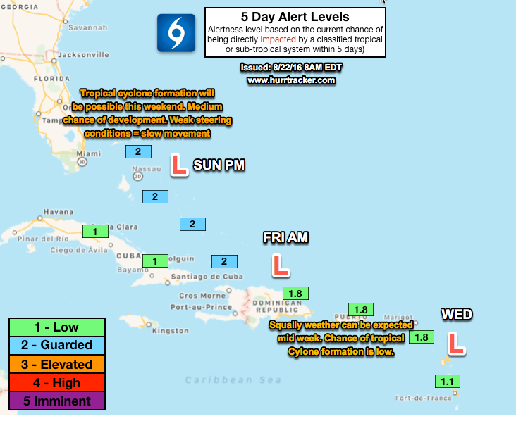 Low 5 day alert levels for the NE Caribbean, but guarded in the Bahamas where there's a greater chance of impacts from a classified system.