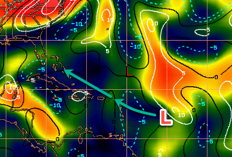 Shear is super low along the expected path of Invest 99L