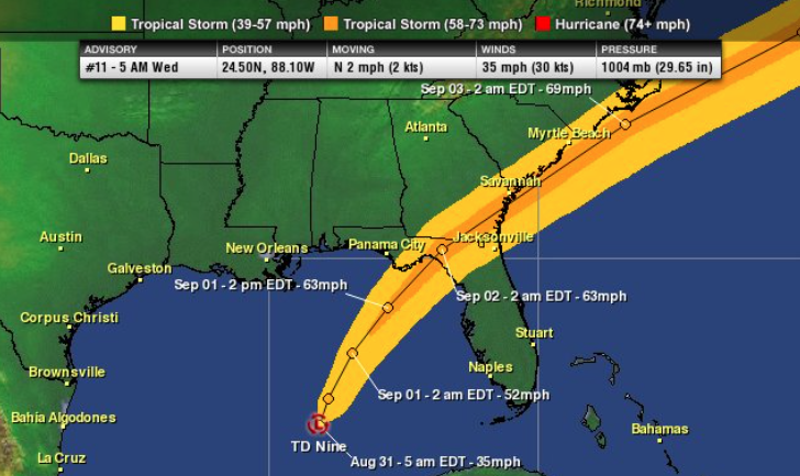 Latest wind swath projection by the NHC.