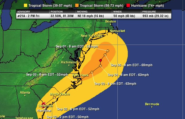 Latest wind swath projection based on the latest NHC forecast.