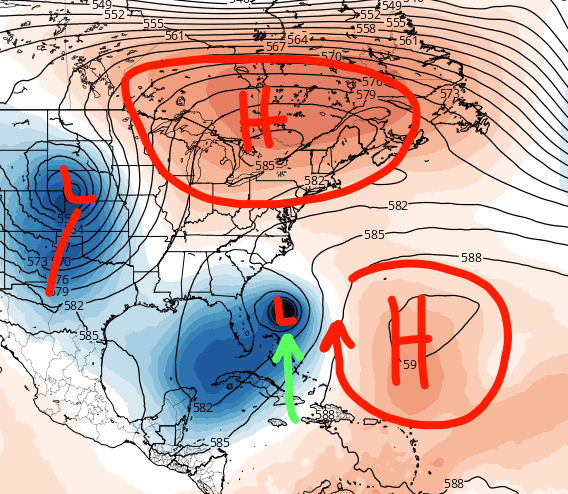 Very complicated steering pattern setting up in the 6-10 day range. Areas of high and low pressure determine where hurricanes track.