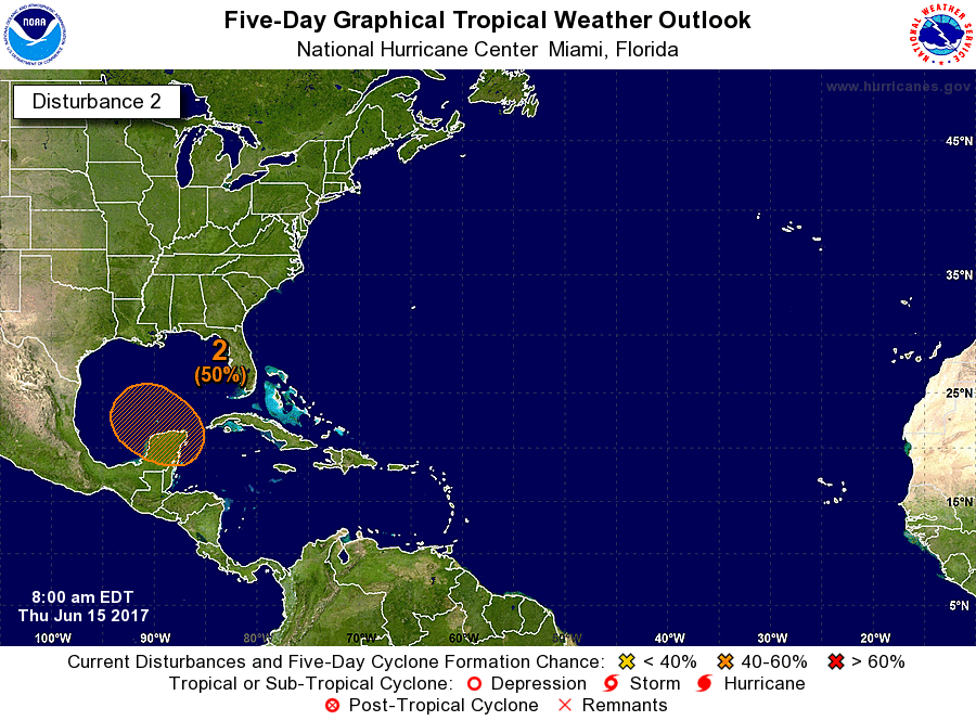 6/15/17 8AM EDT NHC Tropical Outlook