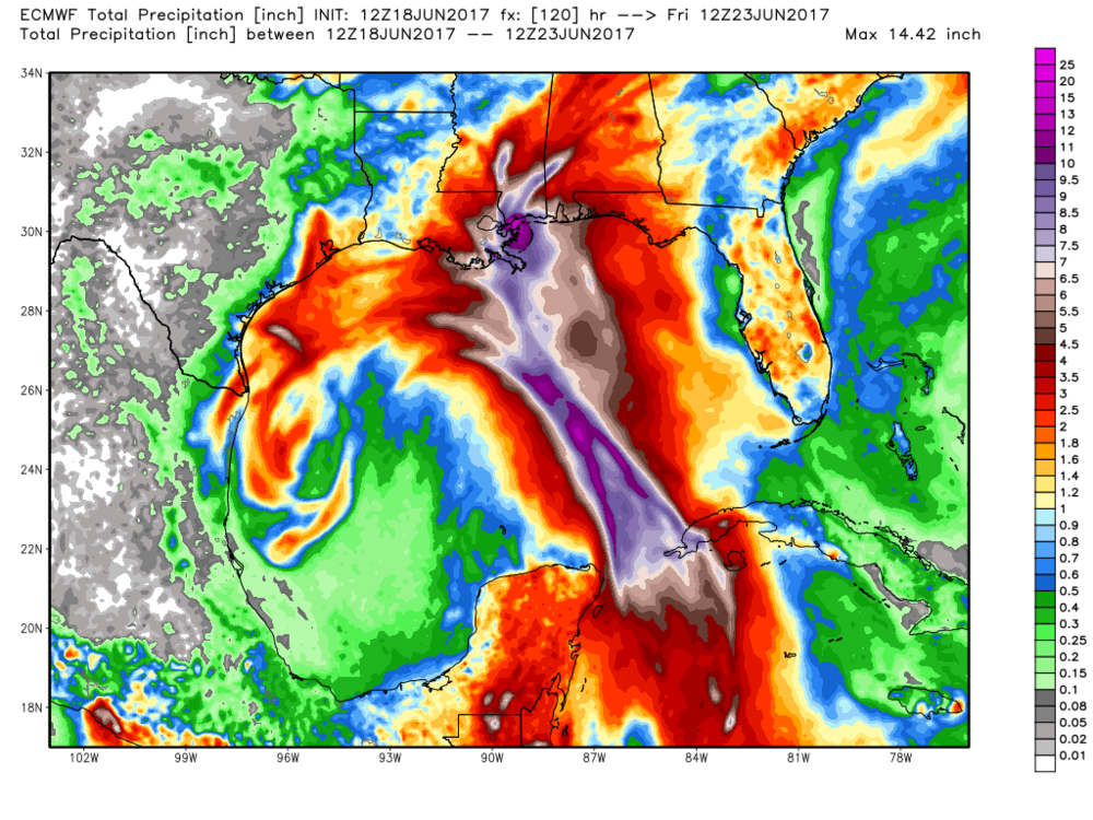6/18/17 12Z EURO precipitation forecast. We could see over a foot of rain well north and east of the center.