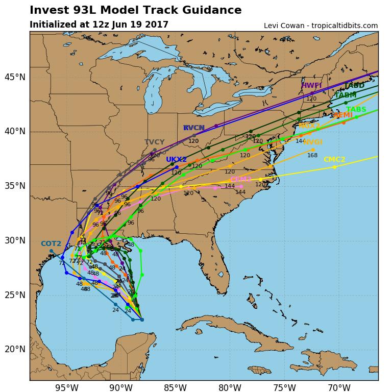 "Latest ""spaghetti"" model plots."