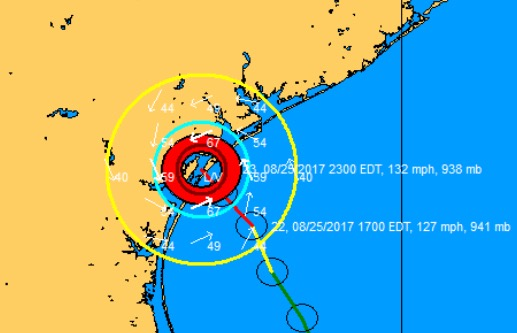 Latest wind field plot as Harvey made landfall.