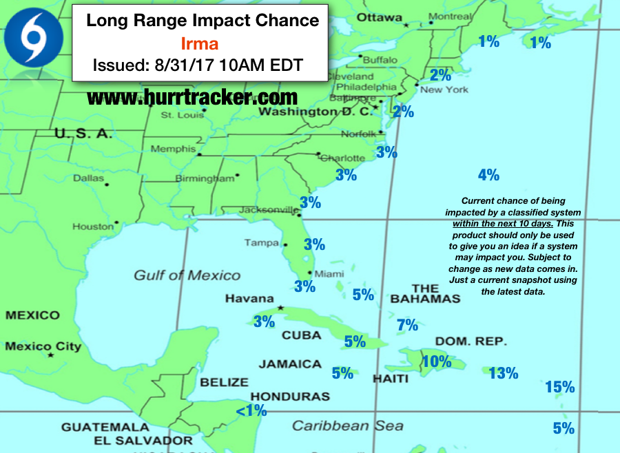 Hurricane Tracker 10 day Long Range impact chances as of now. Will update daily in app as new information comes in.
