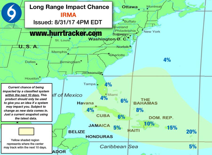Latest Hurricane Tracker App 10 day Long Range Outlook.