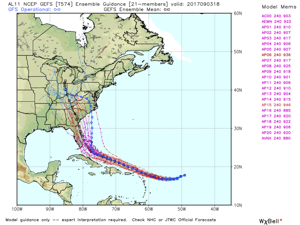 Latest GEFS ensemble model plots. Threat to the Bahamas & U.S. is increasing per the latest computer model guidance.