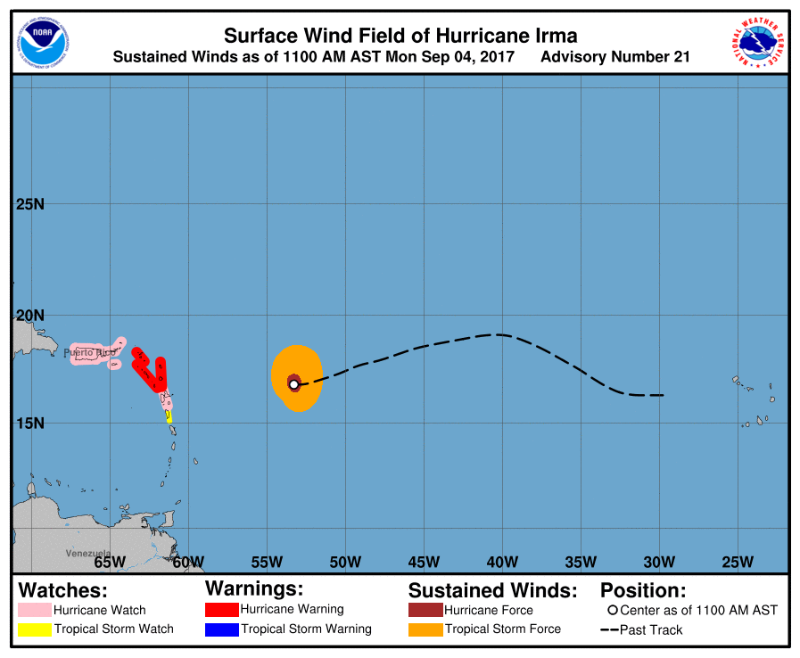 Graphical view of the watches and warnings in anticipation of Irma.