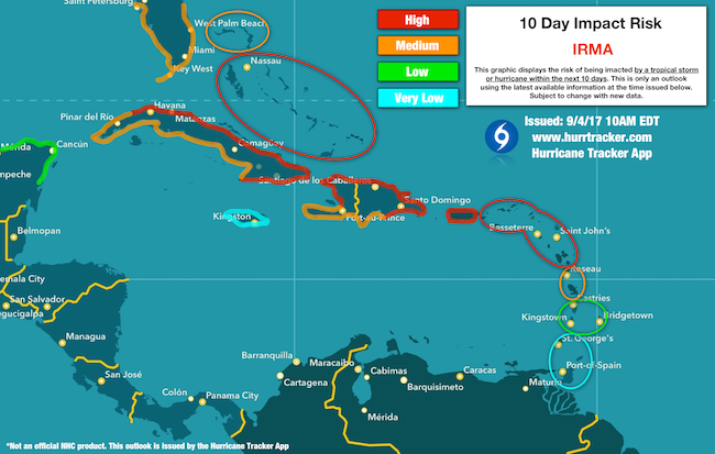Risk potential issued by the Hurricane Tracker App.