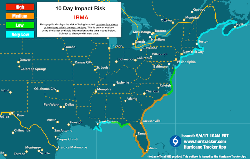 Our 10 day risk potential map