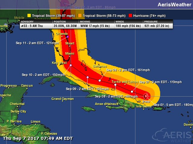 Wind band forecast based off the 5AM NHC advisory.