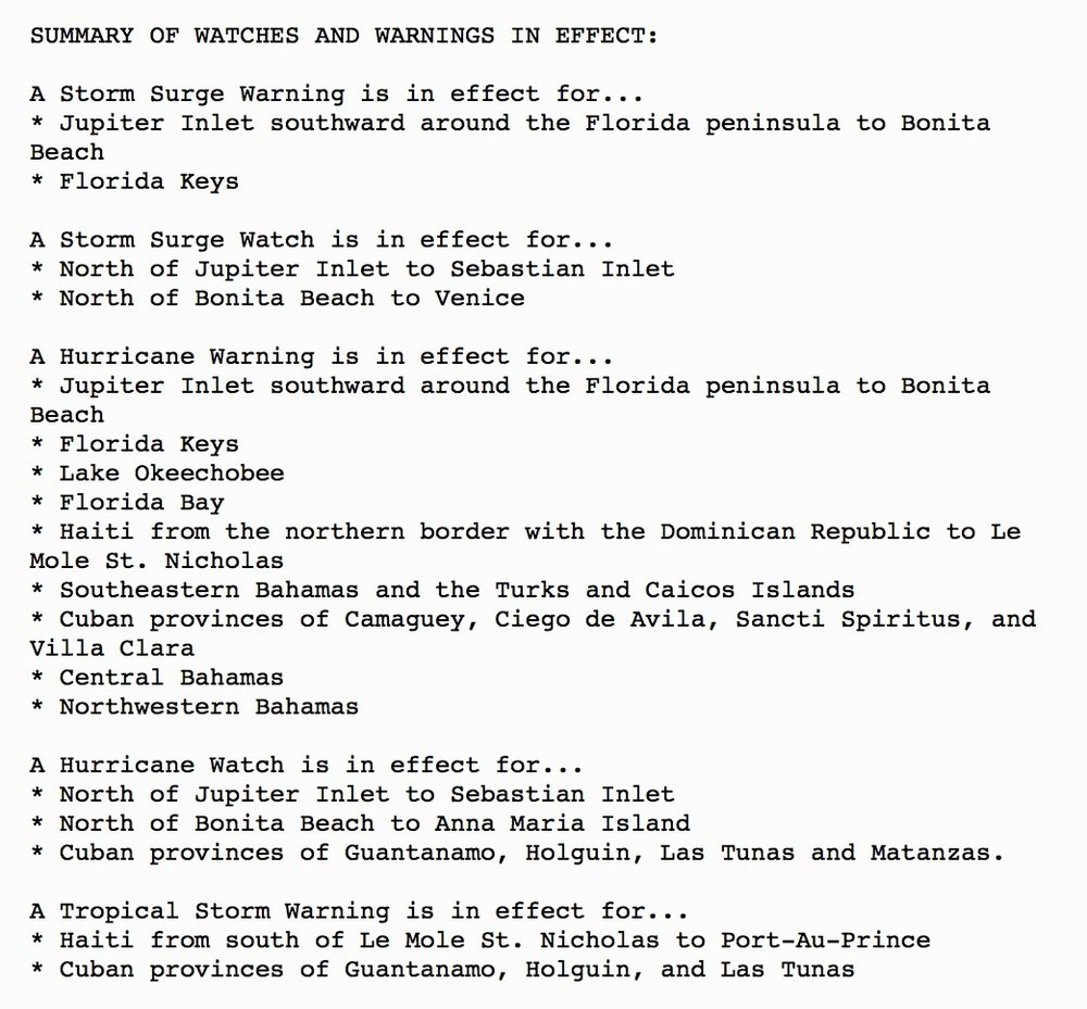 Here's a summary of all the current watches and warnings in place for Irma