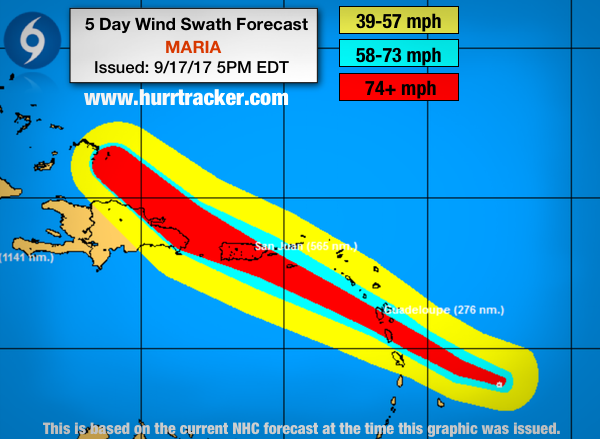Latest wind swath forecast from the NHC.
