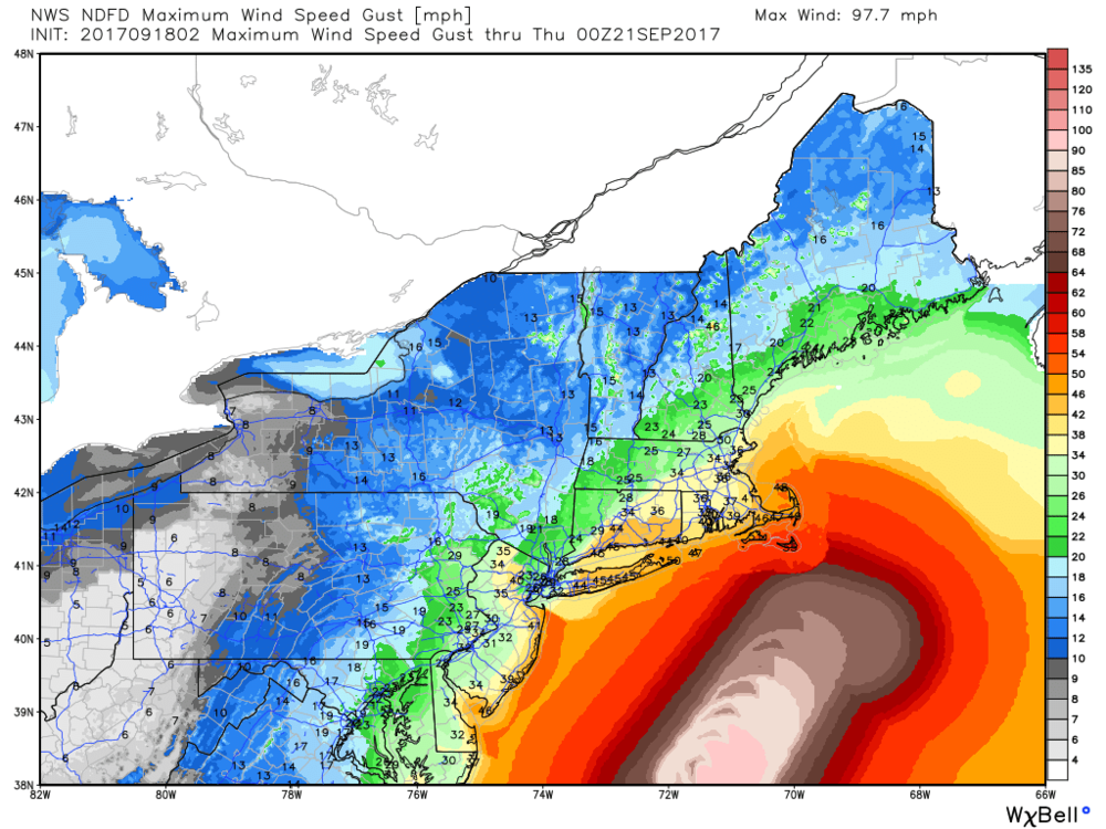 Here's a look at the max wind gust forecast (mph) from the NWS for New England. 40-55 mph gusts Long Island > SE Massachusetts.