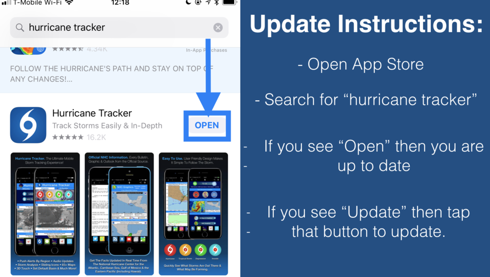 How to update your Hurricane Tracker App on iPhone.