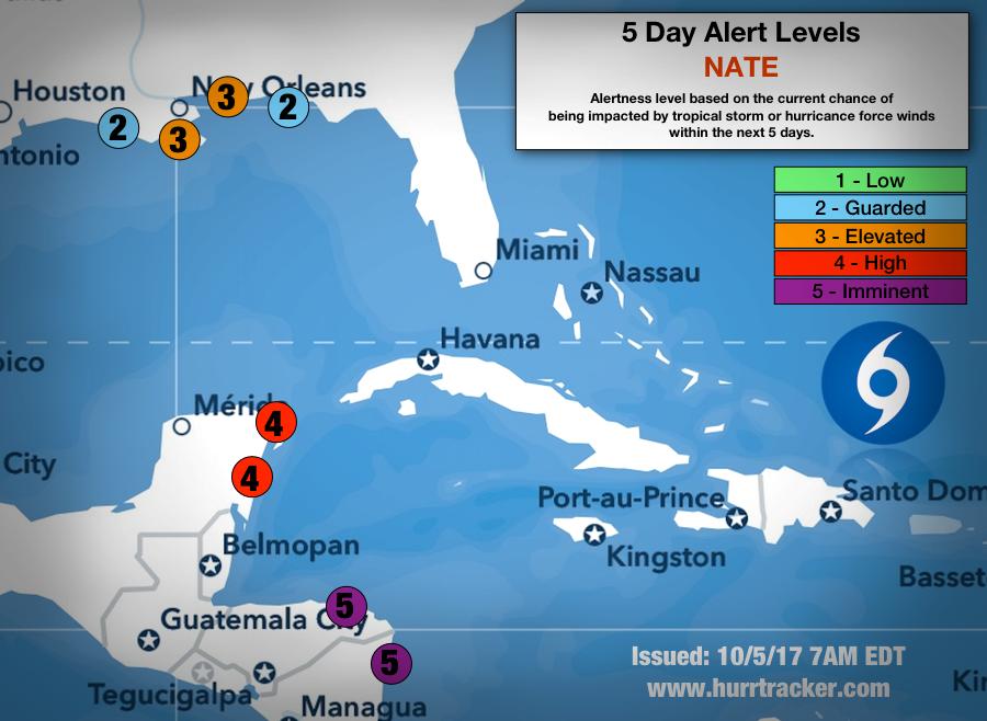 Hurricane Tracker App 5 Day Alert Levels