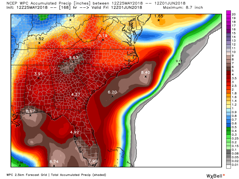 Forecasted rainfall over the next 7 days.