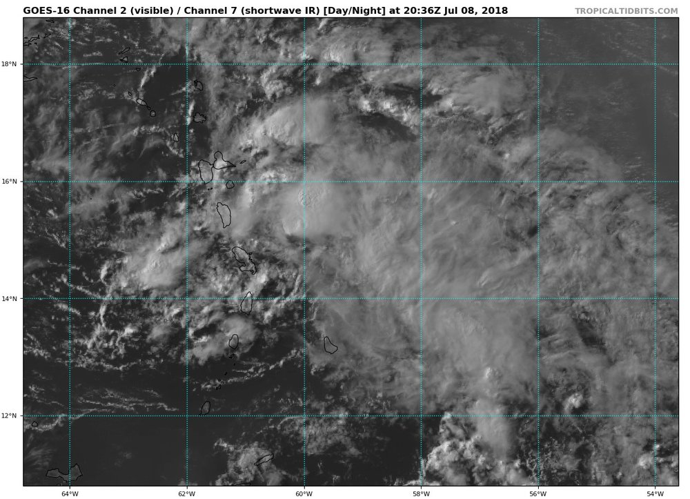 Latest visible satellite for the Remnants of Beryl.
