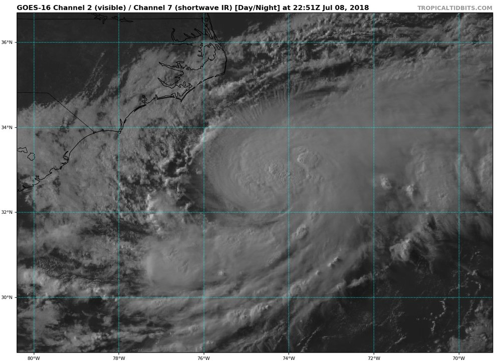 Latest visible satellite for TS Chris.