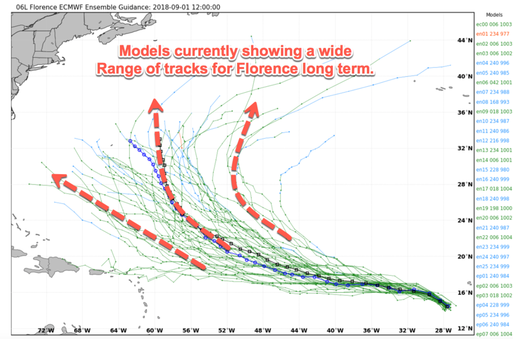 12Z EURO ensemble tracks from 9/1/18. A very wide cone at the end of the forecast.