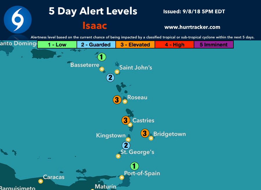 Our 5 Day Alert Levels for Isaac