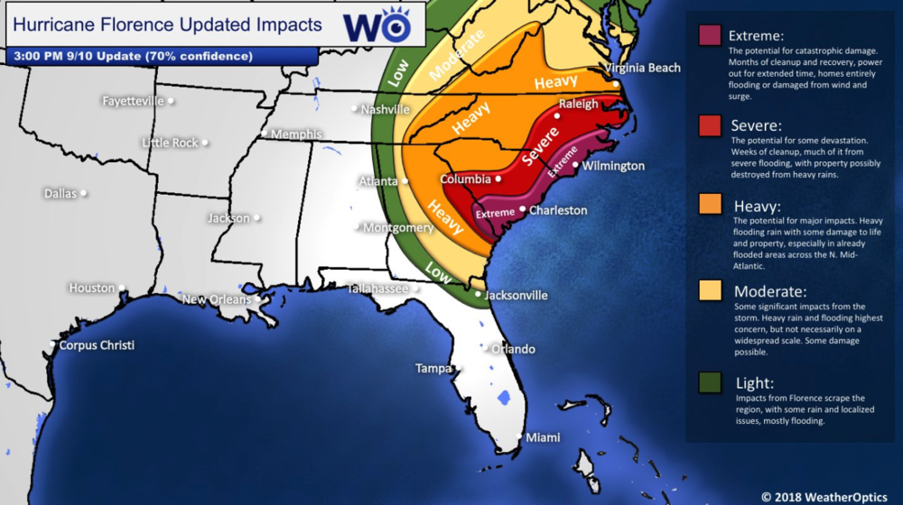 A great visual from our partner, WeatherOptics on which areas will likely have the worst impacts.