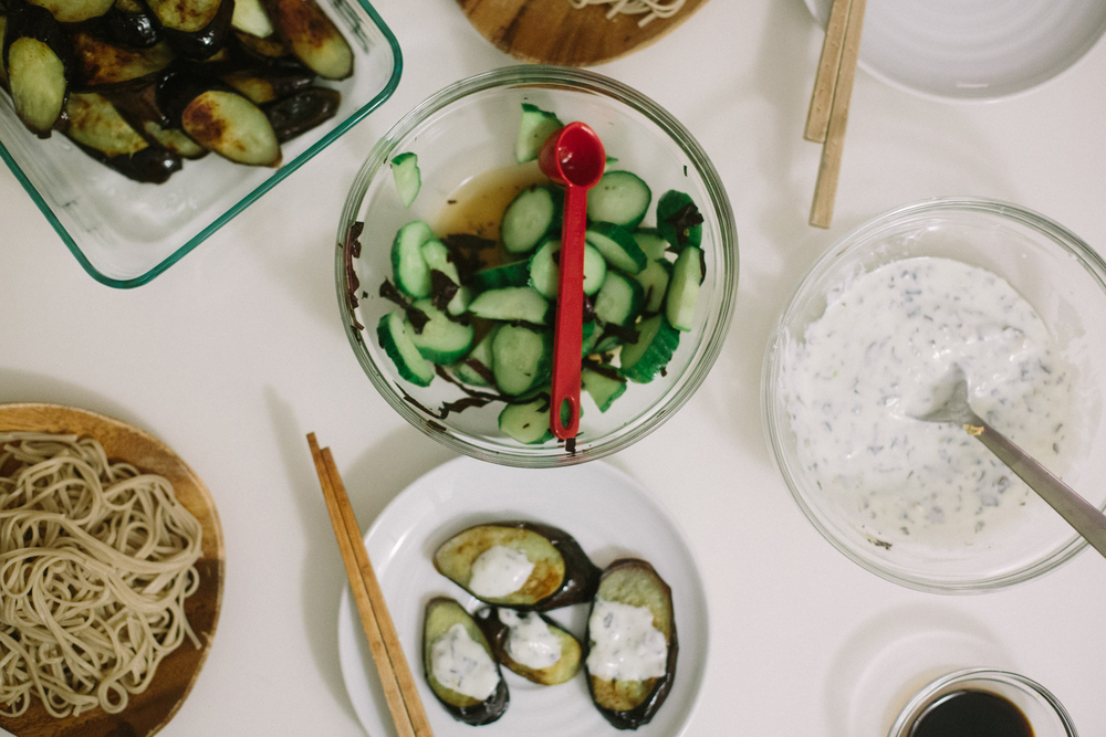 Seared Eggplant with Shiso Yogurt + Cucumber Shiso Pickles