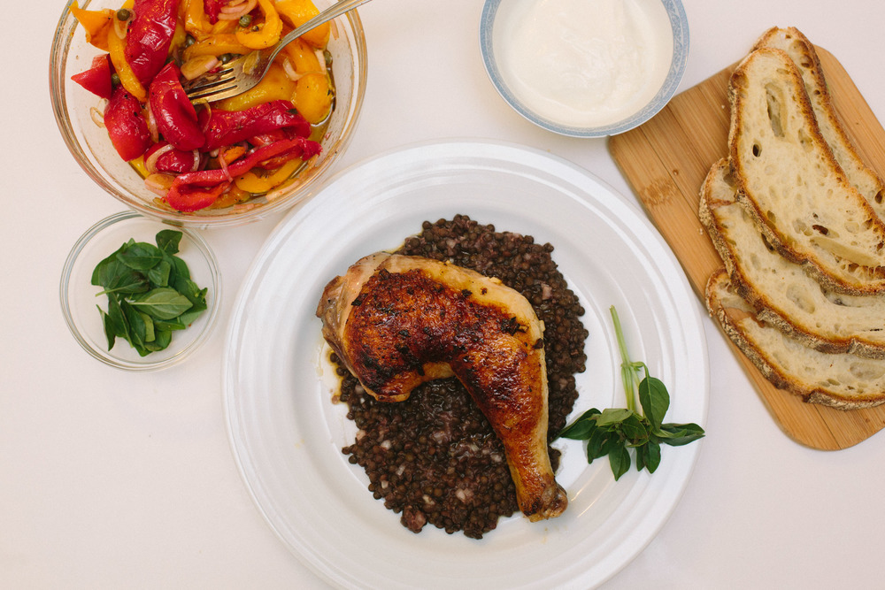 Grilled Chicken Legs with Warm Lentil Salad