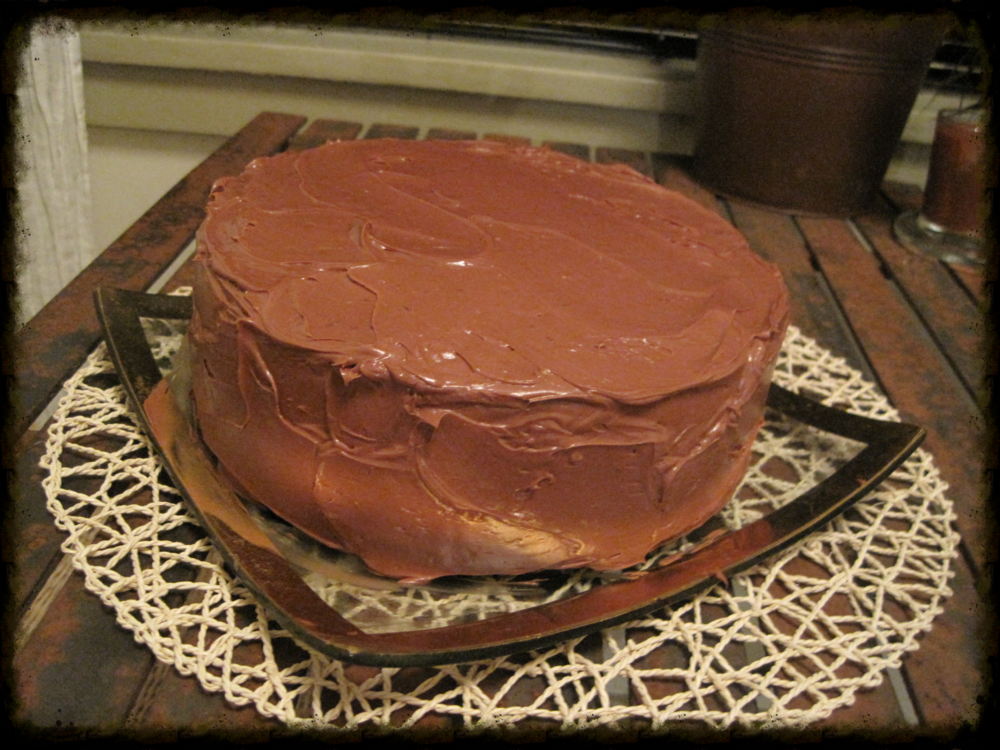 A slightly lopsided yet delicious cake.
